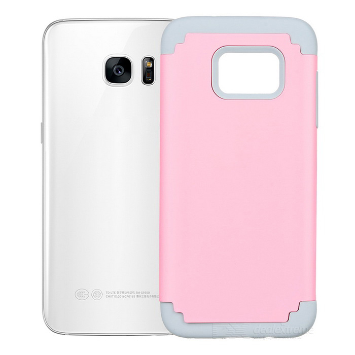TPU+ Silicone Case for Samsung Galaxy S7 Edge - Pink + Grey