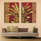 Decorative Landscape Painting Print Canvas Set - Brown (2PCS)