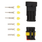 Qook JHIA70001 3Pin / Way Electrical Wire Connector Plug Set - Black