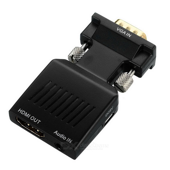 VGA to HDMI AV Adapter / Power Supply Converter - Black