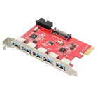 PCI-E to 5-Port USB 3.0 PC Adapter - Red + Silver
