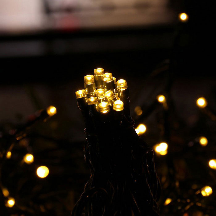 Solar powered decorative twinkle led light string warm white black free shipping dealextreme - Led decorative string lights ...