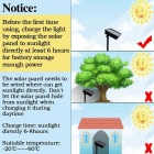 Solar Powered Decorativo Twinkle Luz LED String Quente Branco - Preto