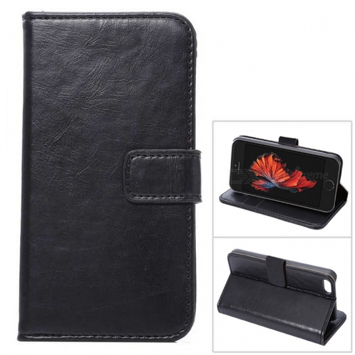 Wallet Case w/ Stand / Card Slots for IPHONE SE / 5S / 5 - BlackLeather Cases<br>Form  ColorBlackQuantity1 DX.PCM.Model.AttributeModel.UnitMaterialPU+TPUCompatible ModelsIPHONE 5S,Others,IPHONE SEStyleFlip OpenDesignMixed Color,With Stand,Card SlotAuto Wake-up / SleepNoPacking List1 x Case<br>