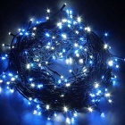 Solar Powered Decorative Twinkle LED Light String Blue Light - Black