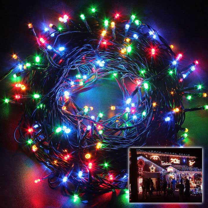 Solar Powered Decorative Twinkle Multi-color LED Light String - Black
