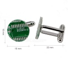 Men's Alloy Material PCB Design Cufflinks - Silver + Green (Pair)