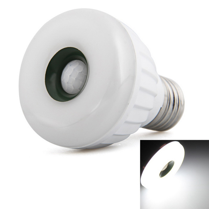 Qook E27 Cold White LED Infrared PIR Motion Sensor Lamp - White