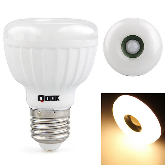 Qook Wi12X001 E27 25 Warm White LEDs PIR Motion Sensor Lamp - WhiteOther Connector Bulbs<br>Form  ColorWhiteColor BINWarm WhiteModelWi12X001MaterialLEDQuantity1 DX.PCM.Model.AttributeModel.UnitPower5WRated VoltageAC 85-265 DX.PCM.Model.AttributeModel.UnitConnector TypeE27Emitter Type3528 SMD LEDTotal Emitters25Actual Lumens450 DX.PCM.Model.AttributeModel.UnitColor Temperature12000K,Others,2500-3000KDimmableNoPacking List1 x LED bulb<br>