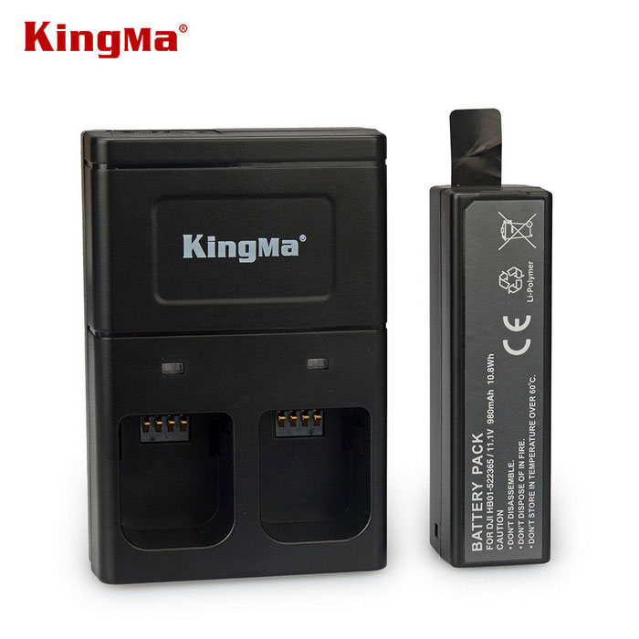KingMa 980mAh Battery + Dual-Slot Charger for DJI OSMO - Carbon Black