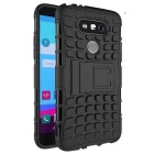 Armour Style TPU Back Case w/ Stand for LG G5 - Black