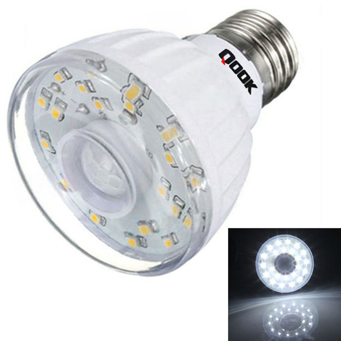 Qook E27 3W Cold White Light IR Sensor LED Bulb - White (AC 220~240V)E27<br>Form  ColorWhiteColor BINCold WhiteMaterialLEDQuantity1 DX.PCM.Model.AttributeModel.UnitPower3WRated VoltageAC 220-240 DX.PCM.Model.AttributeModel.UnitConnector TypeE27Emitter Type3528 SMD LEDTotal Emitters23Actual Lumens120 DX.PCM.Model.AttributeModel.UnitColor Temperature6000KDimmableNoBeam Angle120 DX.PCM.Model.AttributeModel.UnitPacking List1 x E27 Light Bulb<br>