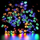 Solar Powered decorativo centelleo multicolor de luz LED String - Negro