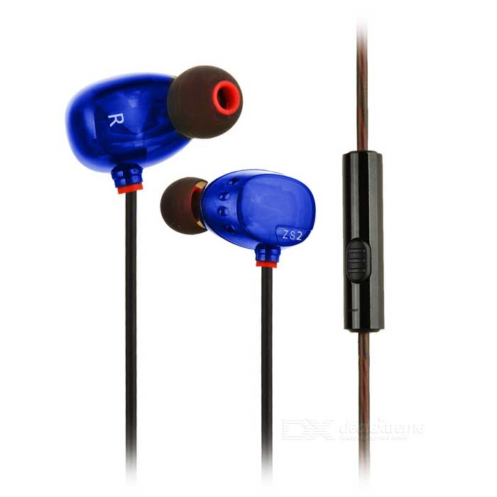 KZ ZS2 3.5mm Plug In-ear Earphone - Black + BlueHeadphones<br>Form  ColorBlue + Black + Multi-ColoredModelKZ ZS2MaterialMetal + TPEQuantity1 DX.PCM.Model.AttributeModel.UnitShade Of ColorBlueHeadphone StyleIn-EarConnectionWiredCable Length120 DX.PCM.Model.AttributeModel.UnitSensitivity98dBRemoteYesWith MicrophoneBuilt-inDriver Unit6mm + 6.8mm dual unitsFrequency Response15~29000HzImpedance16 DX.PCM.Model.AttributeModel.UnitChannels2.0Connector3.5mmLeft &amp; Right Calbes TypeEqual LengthVolume ControlNoOther FeaturesStyle: in-ear <br>Drive unit: 6mm + 6.8mm dual units<br>Impedance: 16ohm<br>Frequency Response: 15 ~ 29000Hz<br>Plug: 3.5mm<br>Power: 5mW<br>Sensitivity: 98dB<br>Cable length: 120cmPacking List1 x Earphone2 x Small earbud cups2 x Middle earbud cups2 x Large earbud cups<br>