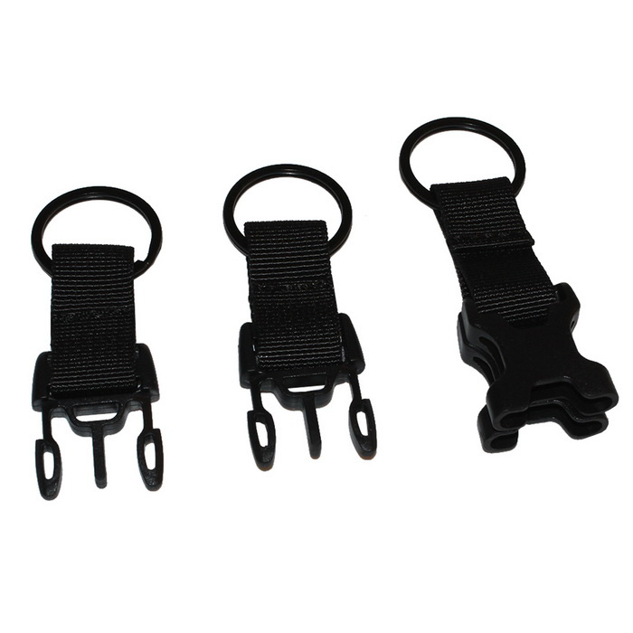 Outdoor Multi-Function Bag Accessories 3-Ring Buckle - Black