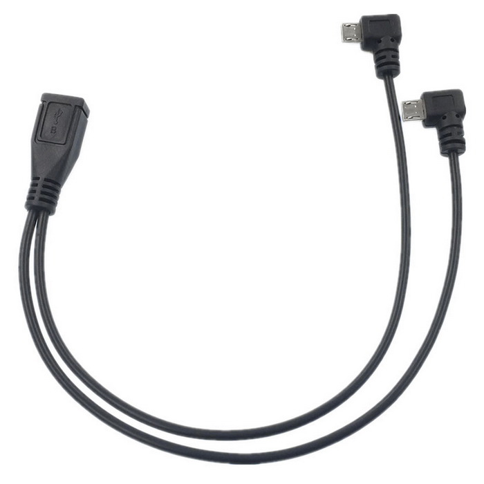Micro USB F to 2-Micro USB M Data / Charging Cable - Black (28cm)
