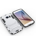 SUNGZU Armor Style ABS Back Case w/ Stand for Samsung S7 Edge - Silver
