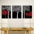 PD020 3-Panel Canvas Trees Paintings Set - Black (30cm * 40cm)