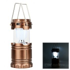 6-LED Outdoor Solar Power Rechargeable Lantern Lamp - Yellow + Bronze