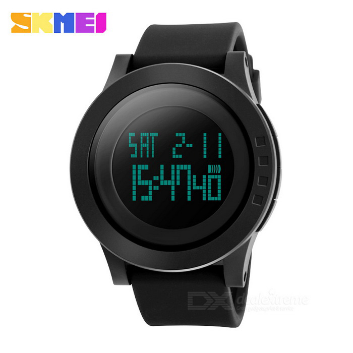SKMEI 50m Waterproof Big Dial Sports Watch - Black (1 * CR2025)Sport Watches<br>Form  ColorBlackQuantity1 DX.PCM.Model.AttributeModel.UnitShade Of ColorBlackCasing MaterialABSWristband MaterialPUSuitable forAdultsGenderMenStyleWrist WatchTypeSports watchesDisplayDigitalBacklightGreenMovementDigitalDisplay Format12/24 hour time formatWater ResistantWater Resistant 5 ATM or 50 m. Suitable for swimming, white water rafting, non-snorkeling water related work, and fishing.Dial Diameter5.2 DX.PCM.Model.AttributeModel.UnitDial Thickness1.3 DX.PCM.Model.AttributeModel.UnitWristband Length27 DX.PCM.Model.AttributeModel.UnitBand Width2.2 DX.PCM.Model.AttributeModel.UnitBattery1 x CR2025Packing List1 x Sports watch1 x CR2025 cell (built-in)1 x Instruction in both Chinese and English<br>