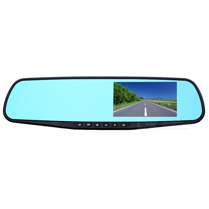"4.3"" HD 1080P Dual Cameras Car DVR & Rearview Mirror - Black"
