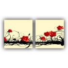 Frameless Flower Printing Canvas Print Painting w/ 2 Panel - Red