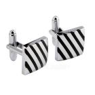 Men's Oblique Lines Pattern Cufflinks - Silver + Black (Pair)