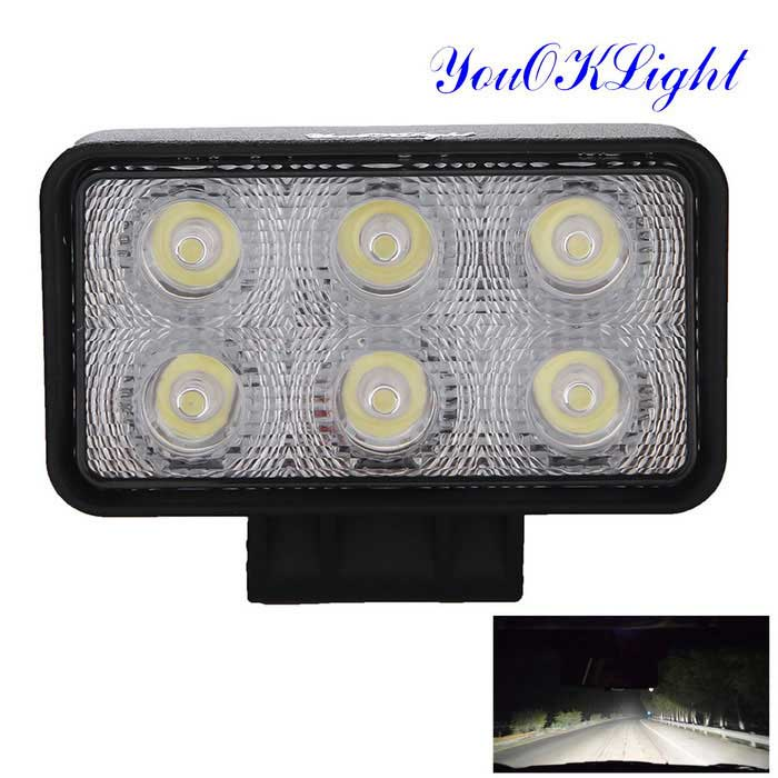 YouOKLight YK1502 18W Flood White 6-LED Car / Boat / Auto Headlight