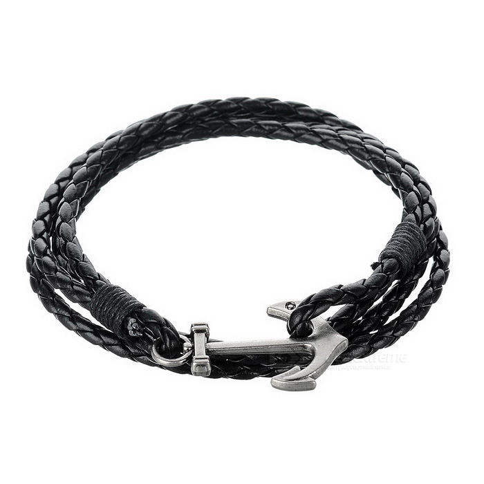 Bracciale mucca Split Leather Anchor Style - Nero