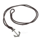 Anchor Style Multiple Cords Leather Bracelet - Brown