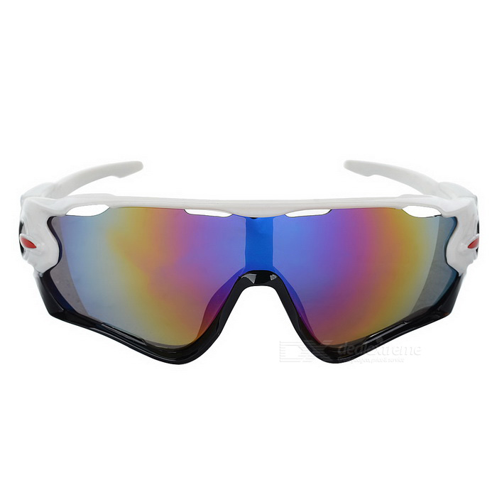 Cycling UV400 Protection Sunglasses - White + PurpleSport Sunglasses<br>Frame ColorWhiteLens ColorPurpleQuantity1 DX.PCM.Model.AttributeModel.UnitShade Of ColorWhiteFrame MaterialPCLens MaterialPCProtectionUV400GenderUnisexSuitable forAdultsFrame Height5.6 DX.PCM.Model.AttributeModel.UnitLens Width7 DX.PCM.Model.AttributeModel.UnitBridge Width1.5 DX.PCM.Model.AttributeModel.UnitOverall Width of Frame14.7 DX.PCM.Model.AttributeModel.UnitPacking List1 x Sunglasses 1 x Case<br>