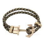 Anchor Style 2-Strand Woven Bracelet - Black + Golden