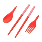 NatureHike Portable Folding Fork / Spoon / Chopsticks Kit - Pink