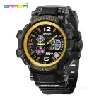 SANDA 30m Waterproof Japanese Movement Battery Watch - Black + Golden