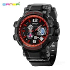 SANDA 30m Waterproof Japanese Movement Battery Watch - Black + Red