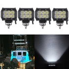 18W Spot Beam 1800lm White Working Light Bar - Black (DC10-30V / 4PCS)