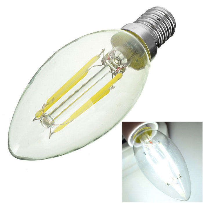 Marsing E14 4W Cold White Light Candle Bulb - White + Yellow