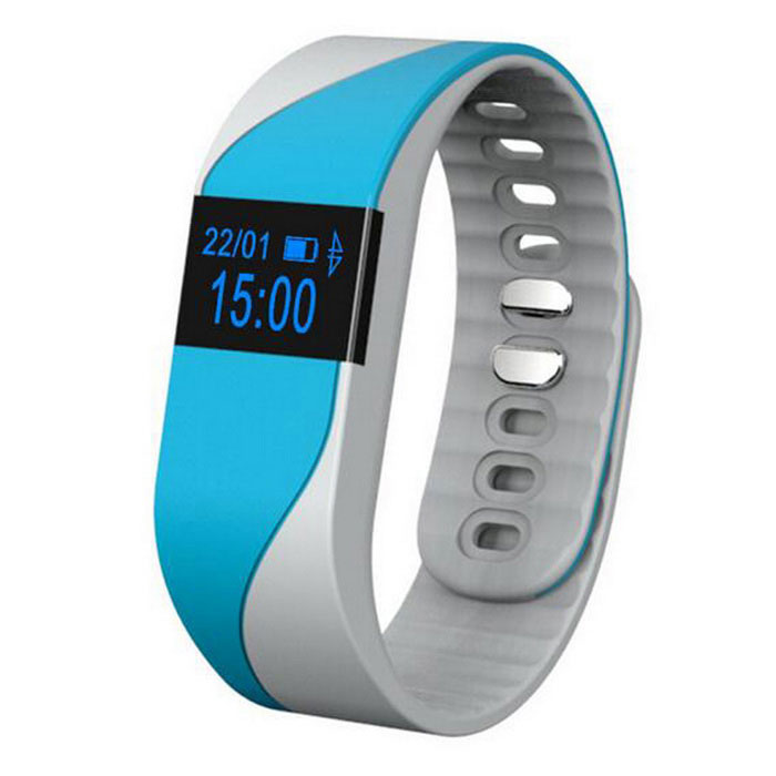 0.49 Smart Bracelet w/ Heart Rate Monitor &amp; &amp; Sport Tracking - BlueSmart Bracelets<br>Form  ColorBlueQuantity1 DX.PCM.Model.AttributeModel.UnitMaterialSiliconeShade Of ColorBlueWater-proofOthers,IP54Bluetooth VersionBluetooth V4.0Touch Screen TypeOthers,0.49 inchOperating SystemAndroid 4.3,iOSCompatible OSAndroid 4.3 above and IOS 7.1 aboveBattery Capacity55 DX.PCM.Model.AttributeModel.UnitBattery TypeLi-polymer batteryStandby Time15 DX.PCM.Model.AttributeModel.UnitCertificationCE, RoHSOther FeaturesPassometer, Fitness Tracker, Sleep Tracker, Message Reminder, Call Reminder, etcPacking List1 x Bracelet1 x USB Cable (About 40cm)1 x Chinese / English User manual<br>