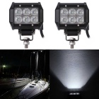 18W Flood 1800lm White Working Light Bar - Black (DC10-30V / 2PCS)
