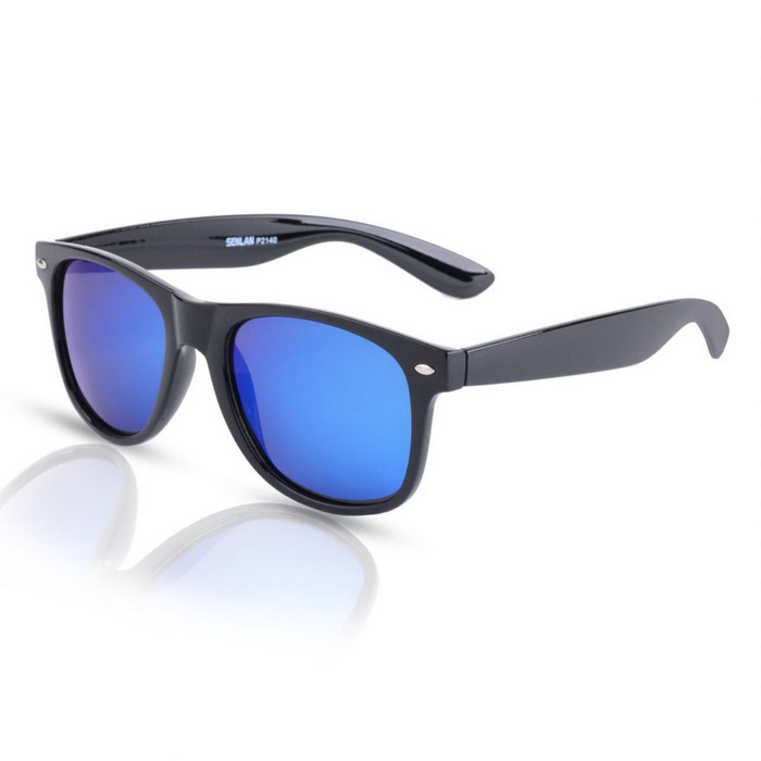 SENLAN 2140P6 Blue Lens Polarized Sunglasses - Black Frame