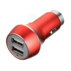Dual USB Car Power Charger  with Emergency Hammer - Red + Silver