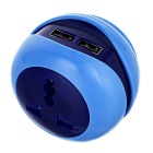 3-Port USB + AC Power Socket with EU Plug - Blue