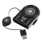 Mini Vacuum USB Air Extracting Cooling Fan Cooler - Black