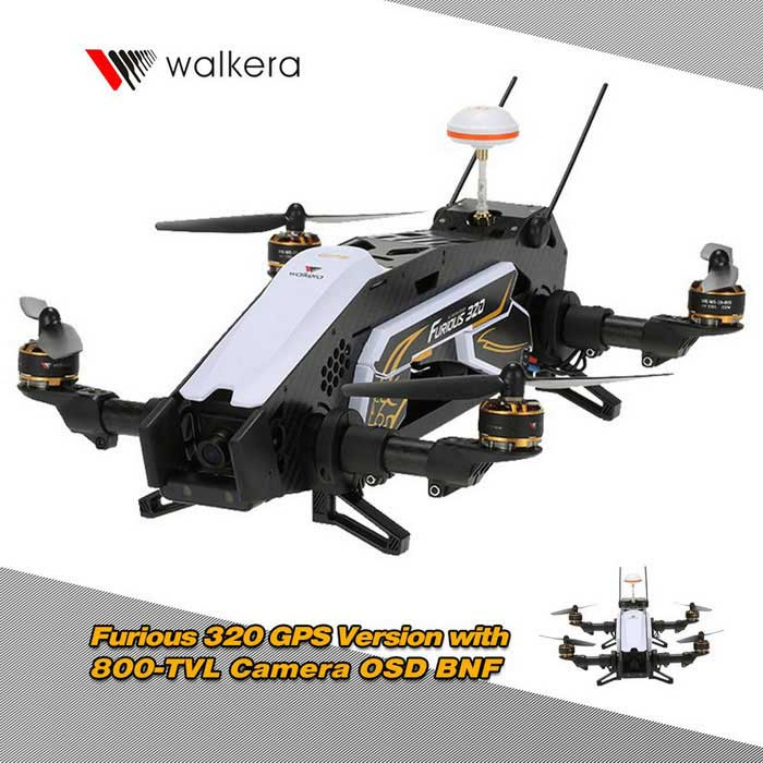 Walkera Furious 320 BNF RC Quadcopter w/ 800TVL Camera - White + Black
