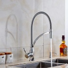 F-0726 Contemporary Kitchen Pre Rinse Brass One Hole Faucet - Silver