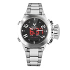 Stainless Steel Strap Waterproof Watch w/ Timing, LED Backlight, Calendar, Week, Alarm Mode