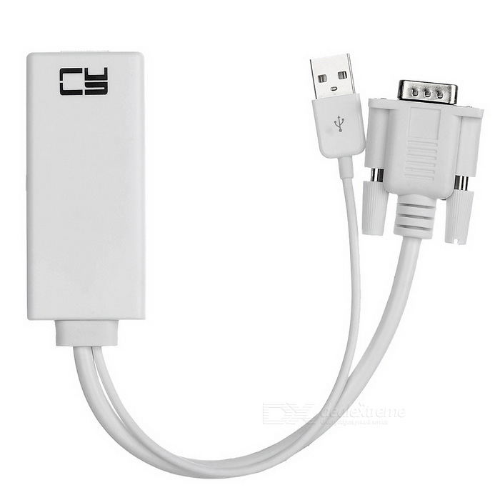 CY VGA Input & USB Power to HDMI Output Adapter Cable - White (28.6cm)
