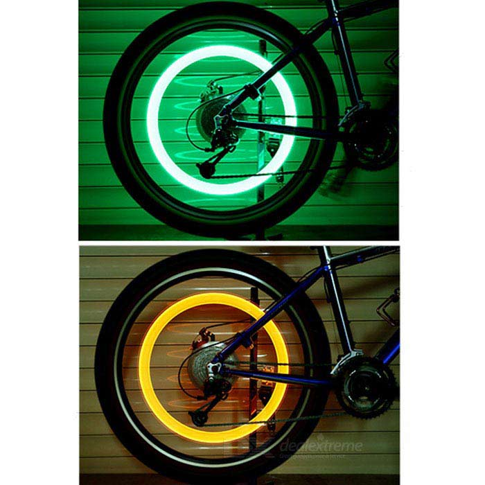 pneu de bicyclette feu vert lampe de valve d 39 air argent. Black Bedroom Furniture Sets. Home Design Ideas