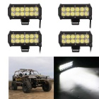 Spot 36W 3600lm 12-LED White Dual-line Work Light Bar - Black (4PCS)