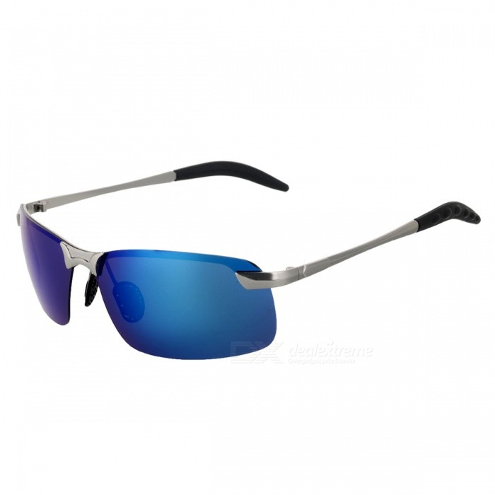 Men's UV400 Protection Polarized Sunglasses - Silver Grey + Blue
